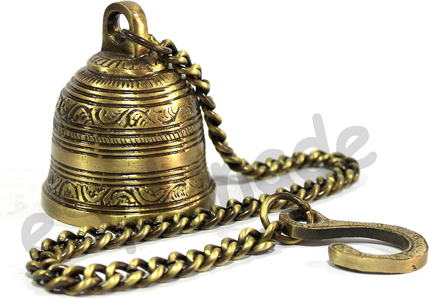 eSplanade - Ethnic Indian Handcrafted Brass Temple Bell with Chain   Brass Hanging Bell   Home Decor   Door Decor   Pooja Accessories