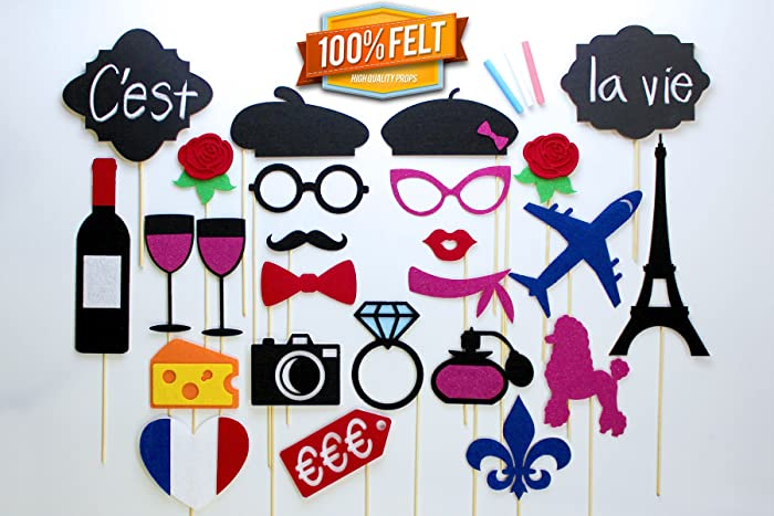Amazoncom Photo Booth Props 25 Piece Parisian Inspired