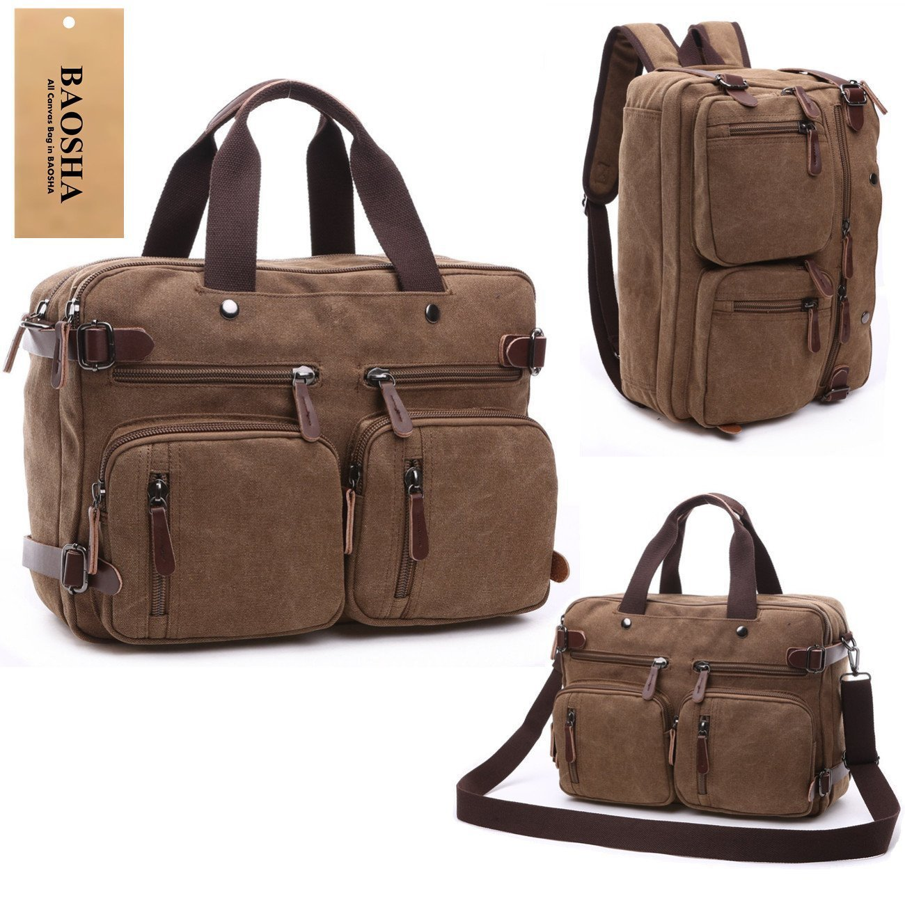 BAOSHA HB-22 Vintage lienzo bolso de mano hombres del maletín mochila Convertible bolsa de ordenador portátil mochila de viaje senderismo mochila marrón ...