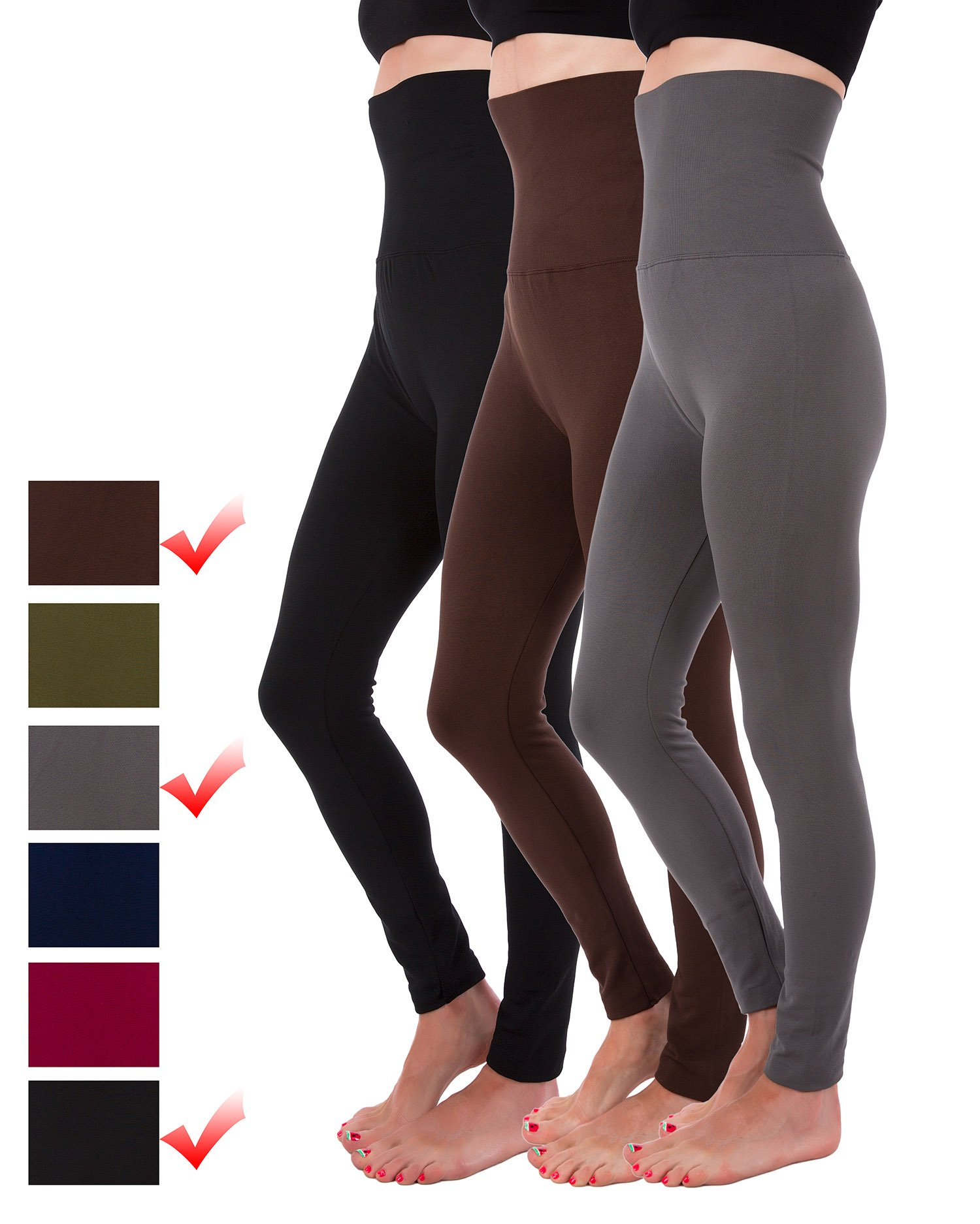 Homma 3-Pack High Waist Compression Fleece Lined Thick Brushed Leggings Thights by (XL/XXL, Black, Brown, Charcoal)