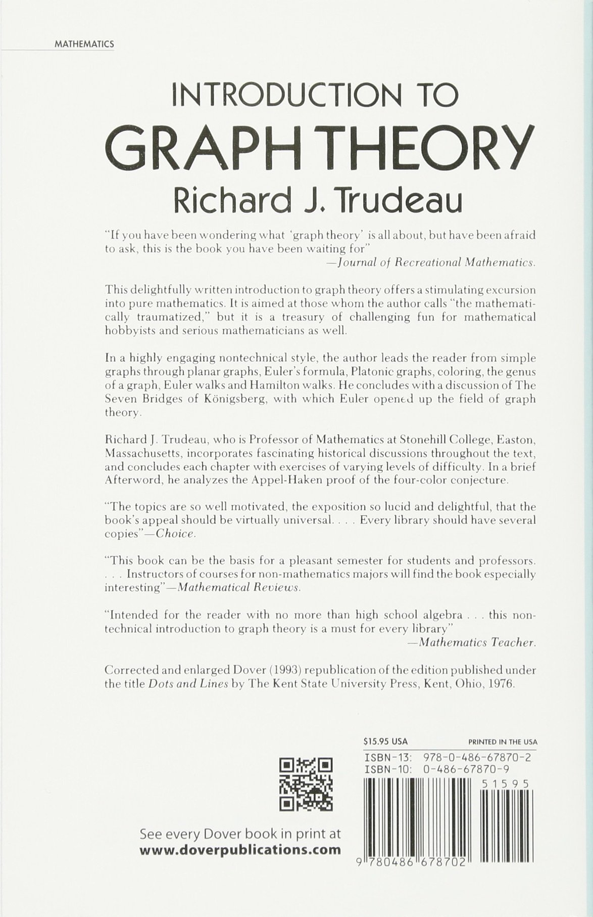 Introduction to graph theory dover books on mathematics amazon introduction to graph theory dover books on mathematics amazon richard j trudeau 0800759678709 books baditri Gallery