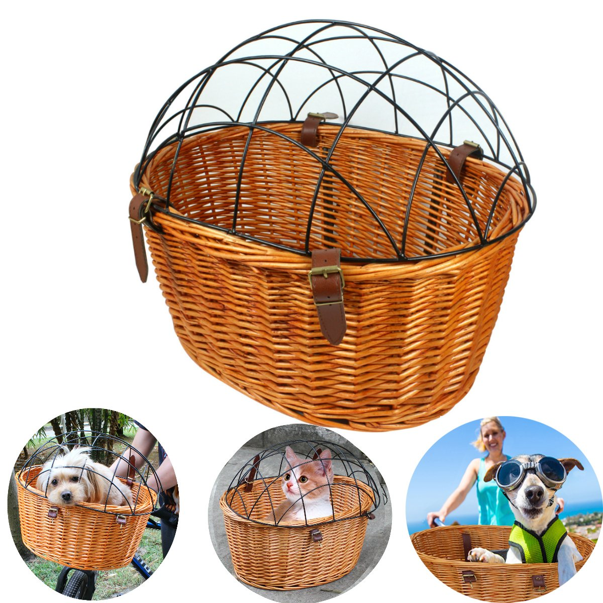 AORYVIC Rural Style Wicker Basket Bicycle Front Pet Cat Dog Carrier Cage Ecological Willow Cage Hanging Basket Capacity 20lbs