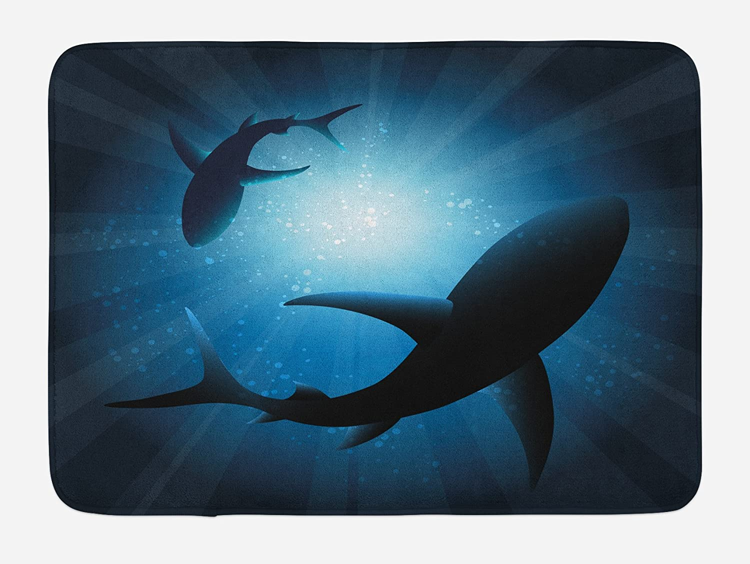 "Ambesonne Shark Bath Mat, Silhouette of The Fishes Swimming at Twilight Night Moon Mystic Sea Scenery, Plush Bathroom Decor Mat with Non Slip Backing, 29.5"" X 17.5"", Blue"