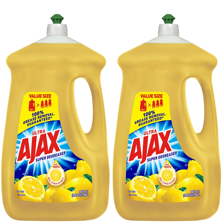 Ajax Ultra Triple Action Liquid Dish Soap, Lemon - 90 fl oz, 2-Pack