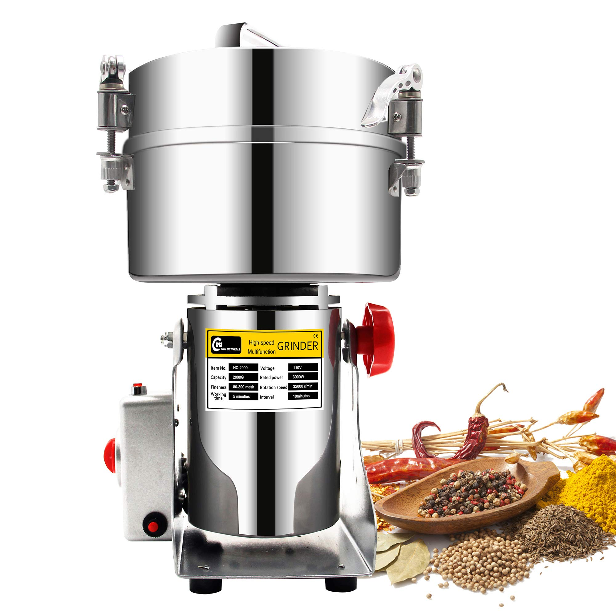 CGOLDENWALL 2500g Commercial Electric Grain Grinder Mill Spice Grinder Grain Powder Grinder Grinding Machine Chinese medicine Spice Herb Grinder Flour Mill Pulverizer CE approved