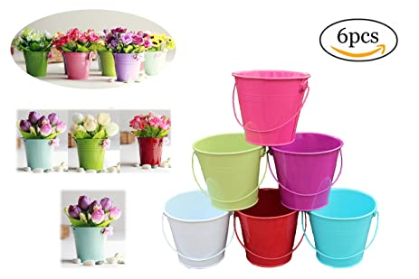 Colorful Garden Pots Amazon dproptel 2 in 1 portable flower pots sand bucket iron dproptel 2 in 1 portable flower pots sand bucket iron hanging flower workwithnaturefo
