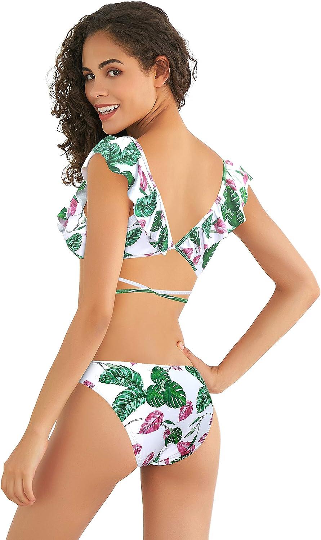 SHEKINI Maillots de Bain Femme Deux Pi/èces Col en V Bikini Rembourr/é Cute Flounce Crois/ée Bandage R/églable Bikini Femme 2 pi/èces avec Triangle Taille Basse Bas de Bikini
