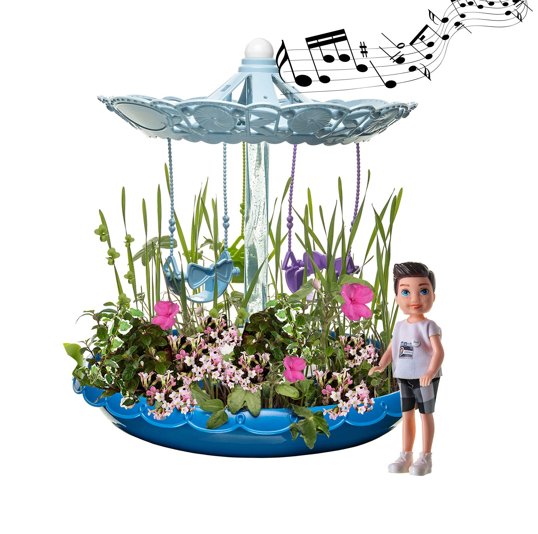 Kids Garden Set for Boys and Girls 3 - 10 Years Old - Best Fairy Gardening Gift - Grow Magic Flowers and Plants Indoor - Montessori Toy for Toddlers (Blue)