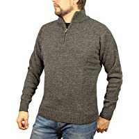 100% SHETLAND WOOL Half Zip Up Knit JUMPER Pullover Mens Knitted Sweater