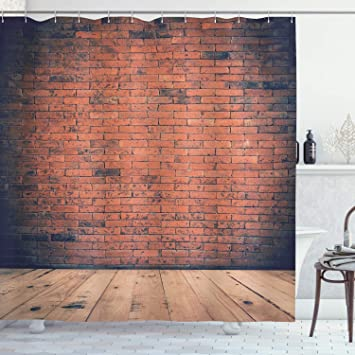 Ambesonne Vintage Decor Collection, Old Fashioned Bricks in Dark Room on