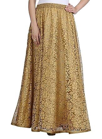 6b3491afe Indian Handicrfats Export Women's Net Double Layer Long Skirt  (SKT1406_Gold_Freesize) at Amazon Women's Clothing store: