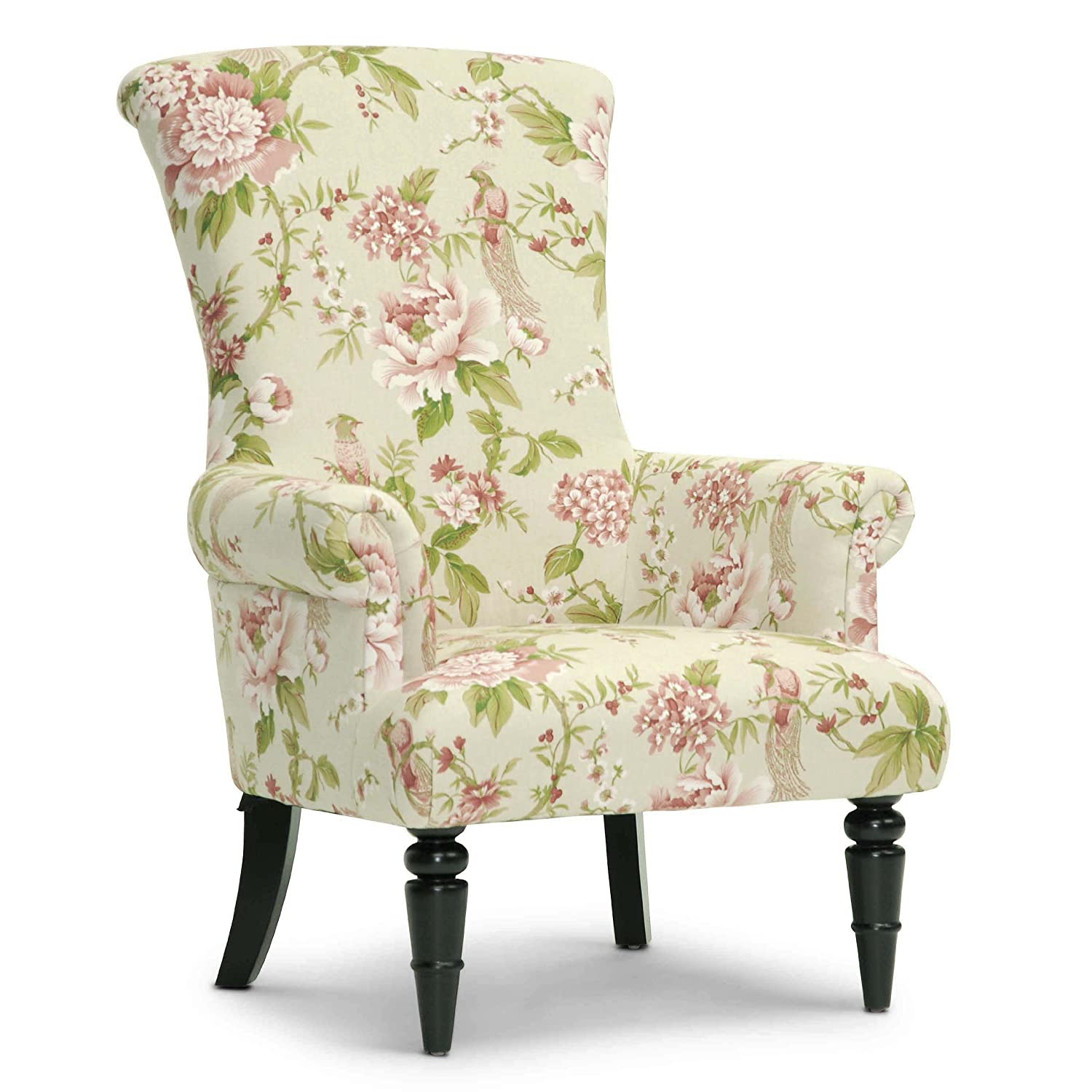 Amazon Baxton Studio Kimmett Linen Floral Accent Chair Beige