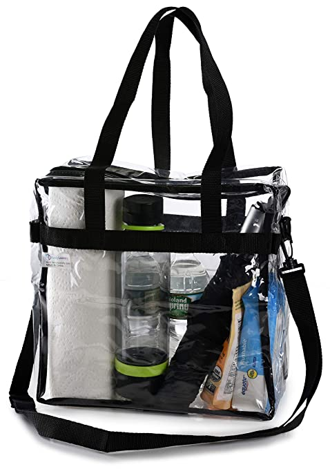 a3aeb0a090 Clear Tote Bag NFL Stadium Approved - Shoulder Straps and Zippered Top.  Perfect Clear Bag for Work, School, Sports Games and Concerts. Meets NFL  and ...