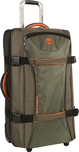 Timberland Wheeled Duffle Bag – 26 Inch Lightweight Rolling Luggage Travel Bag Suitcase for Men, Burnt Olive Burnt Orange