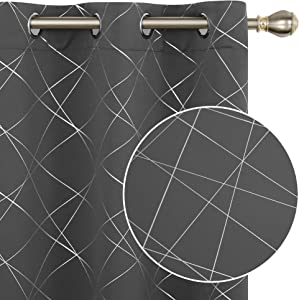 Deconovo Blackout Curtains for Bedroom Thermal Insulated Window Draperies Foil Printed Line Sunblock Curtains Room Darkening for Living Room Kitchen Office - 2 Panels, 42x72 in, Dark Grey
