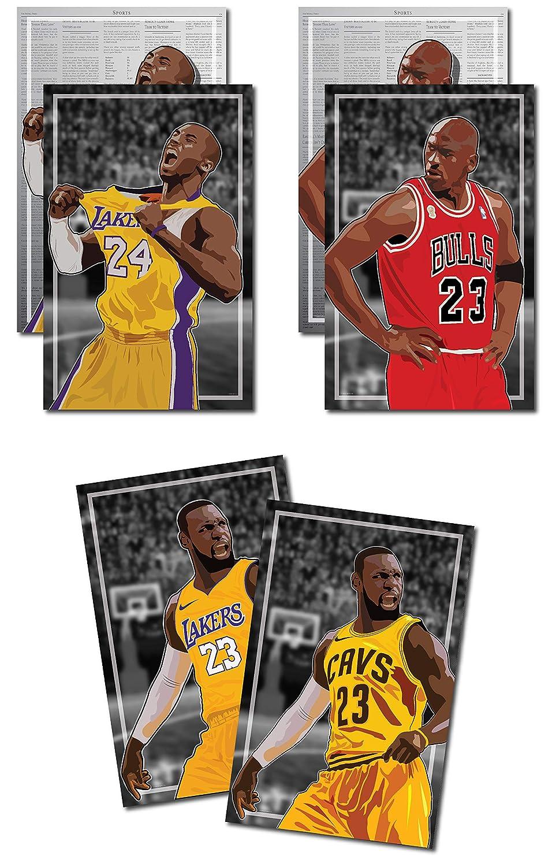 8b75f0628e05b 3 Posters of NBA GOAT - Michael Jordan, Kobe Bryant, LeBron James Art  Prints - Buy 1 Get 2 Free, 3 total prints (2-sided) (Medium Set - 12