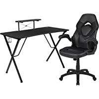 Flash Furniture Black Gaming Desk and Black Racing Chair Set with Cup Holder, Headphone Hook, and Monitor/Smartphone Stand