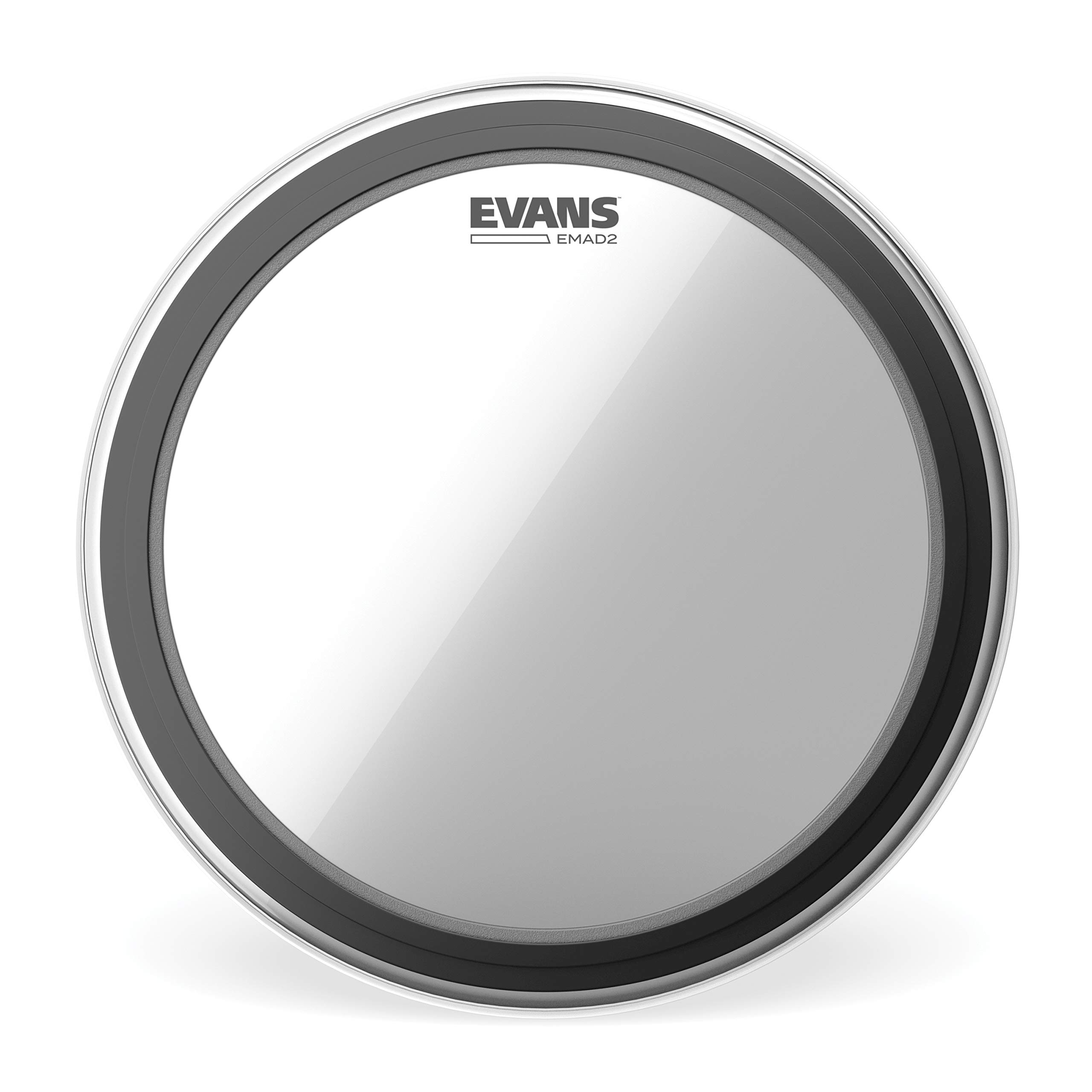 Evans EMAD2 Clear Bass Drum Head, 26'' - Externally Mounted Adjustable Damping System Allows Player to Adjust Attack and Focus - 2 Foam Damping Rings for Sound Options - Versatile for All Music Genres by Evans