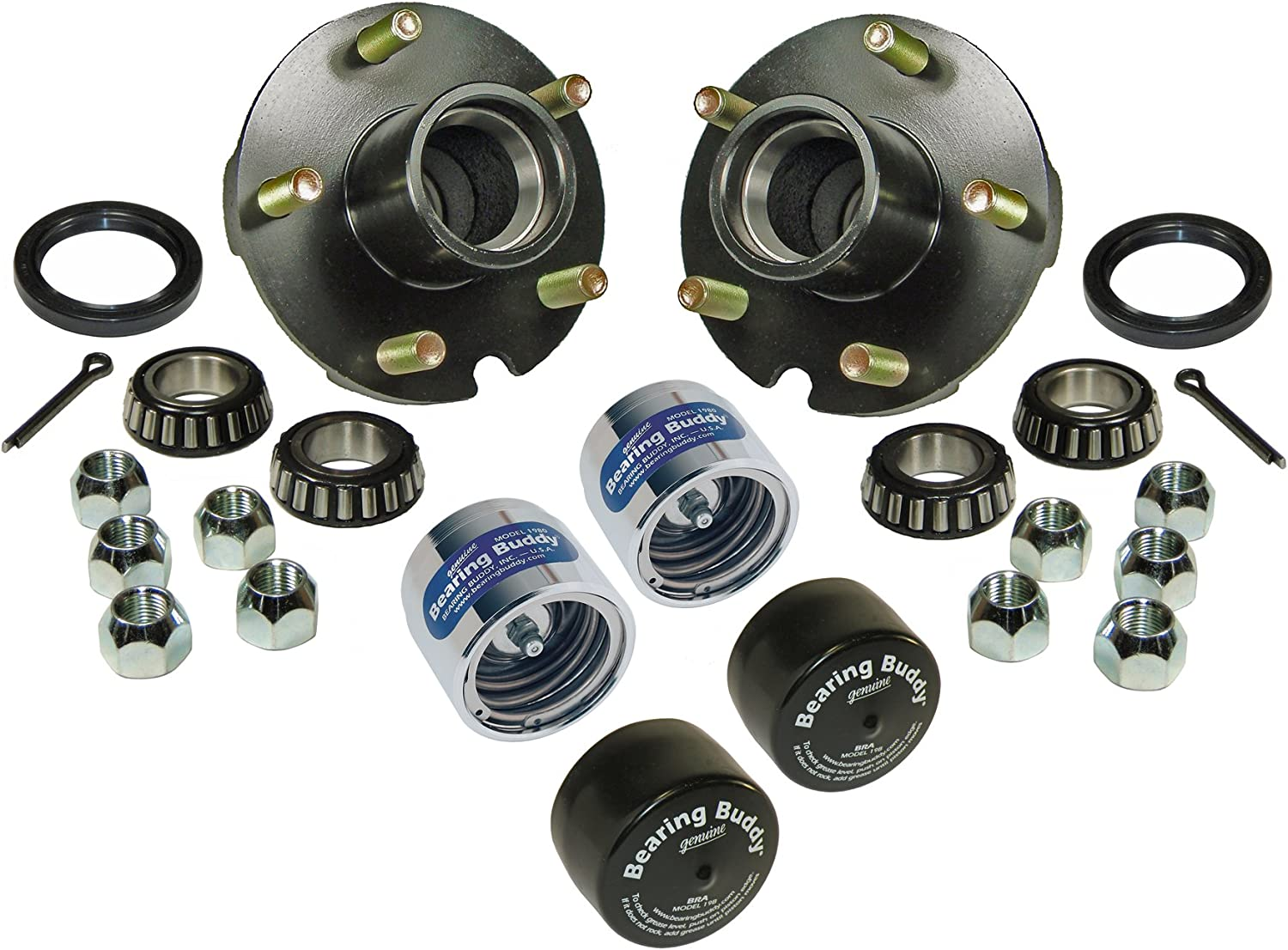 Rigid Hitch Trailer Hub Assembly (BT-150-22-A-BBC) - 1-1/16 inch I.D. Bearings - with Chrome Bearing Buddies & Bras