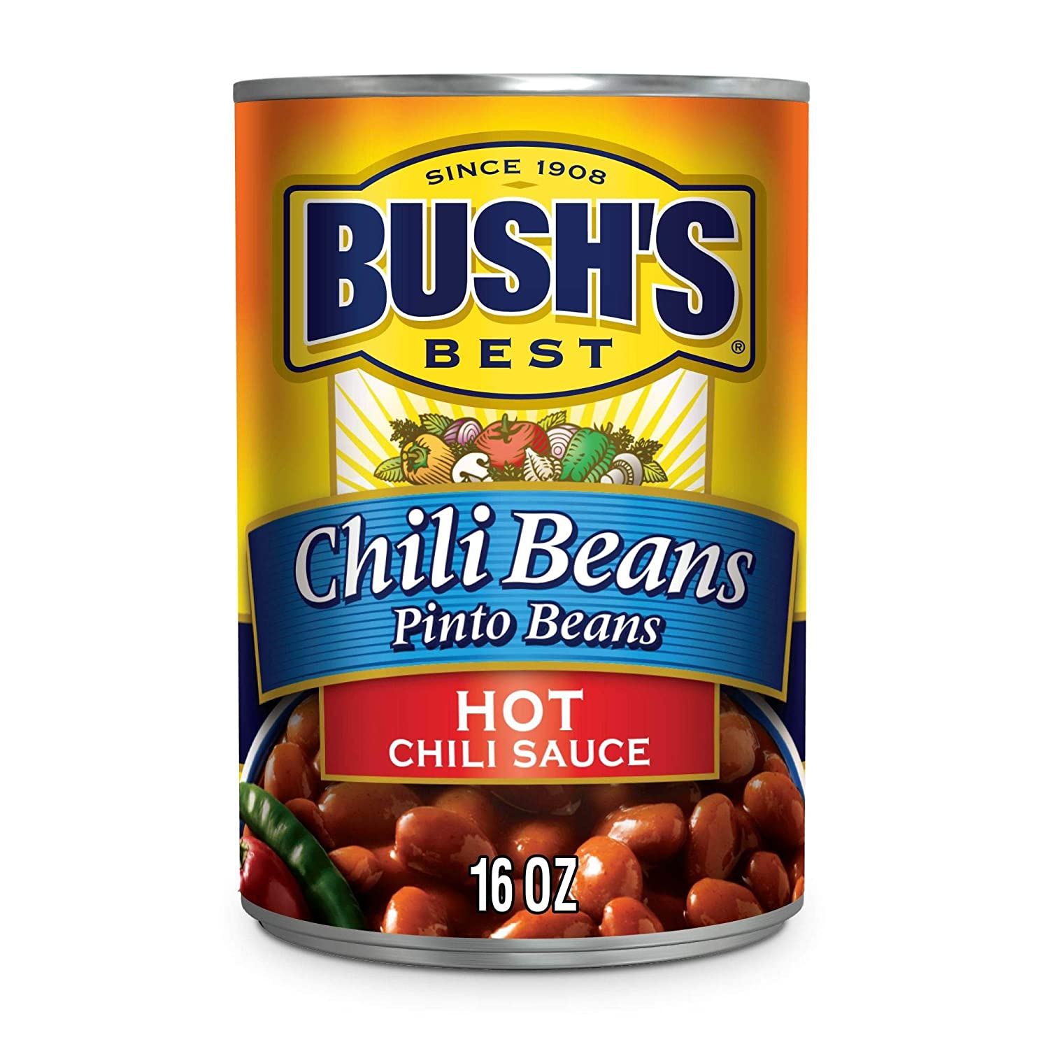Bush S Best Canned Pinto Beans In A Hot Chili Sauce Pack Of 12 Source Of Plant Based Protein And Fiber Low Fat Gluten Free 16 Oz Grocery Gourmet Food