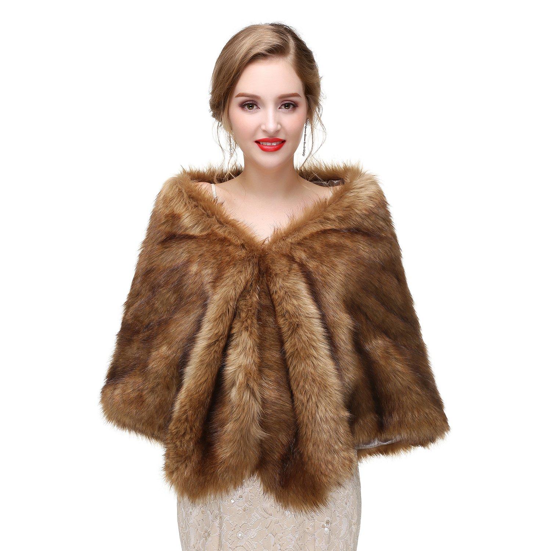 Leyidress 2018 Women Faux Fox Fur Wraps Shawls Stoles Cape Shrug