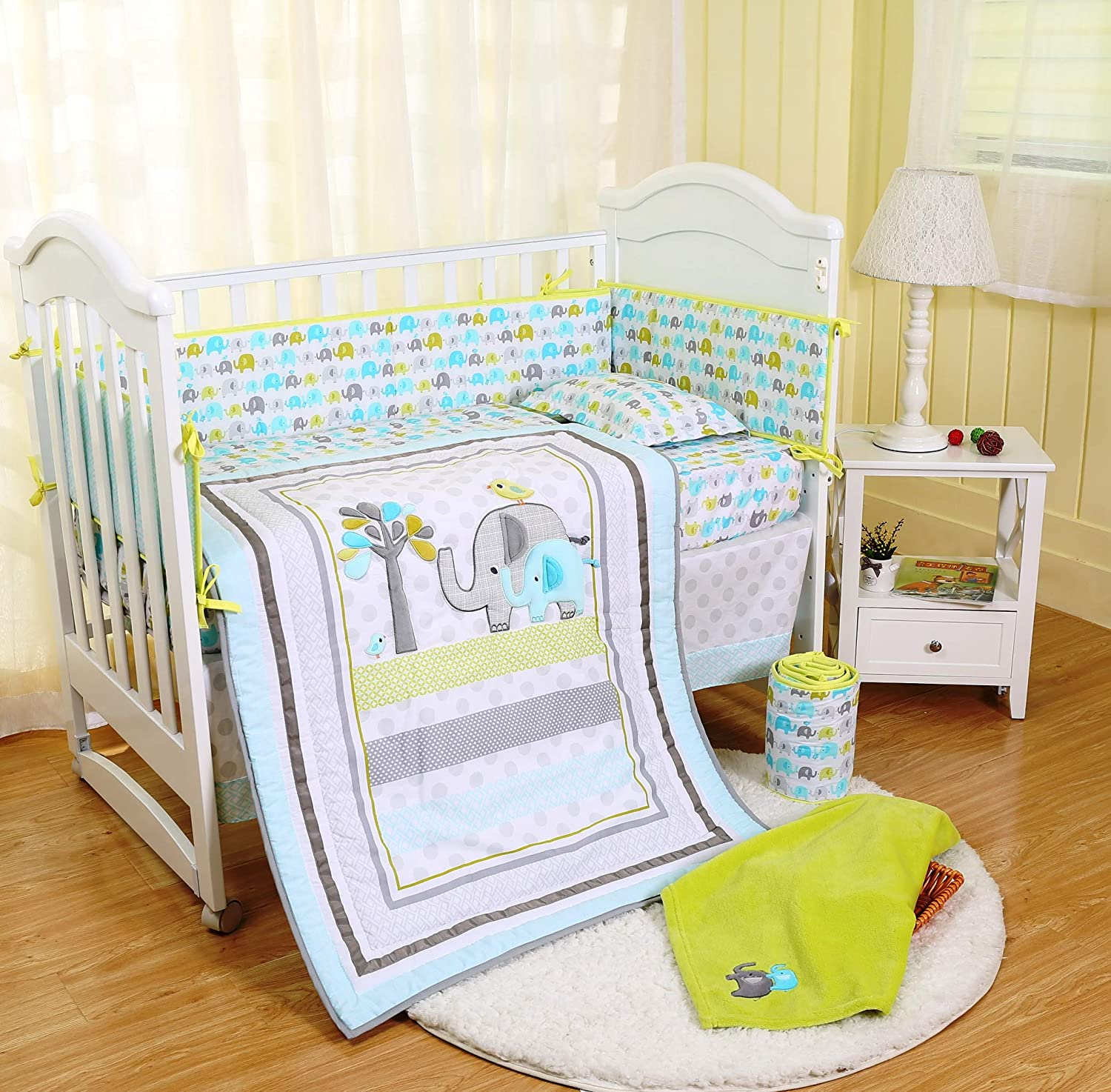 Spring Baby Crib Bedding Set 8 Piece Nursery Crib Bedding Set for Baby Boys and Girls, Including Comforter, Crib Sheet, Crib Skirt, Bumpers, Blanket (Blue/Green/Grey Elephant-8 Piece)