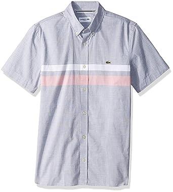 e3e9792a3c Lacoste Men's S/S Striped Cotton Casual Button Down Collar Slim Fit ...