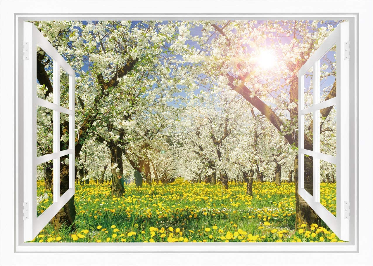 Green Natural Landscape Photography Background Yellow Spring Flowers Backdrop for Wedding Newborn Themed Party YouTube Photo Booth Backdrop 7x5ft E00T9524