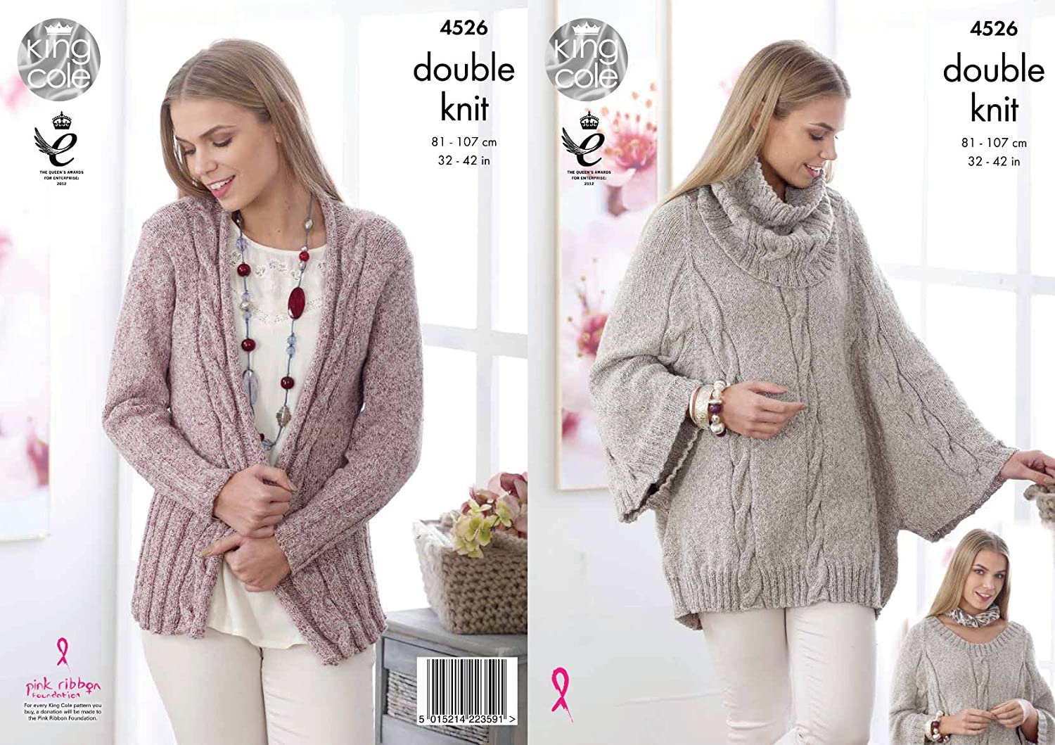 King Cole 4526 Knitting Pattern Ladies Cape Cowl and Cardigan in ...