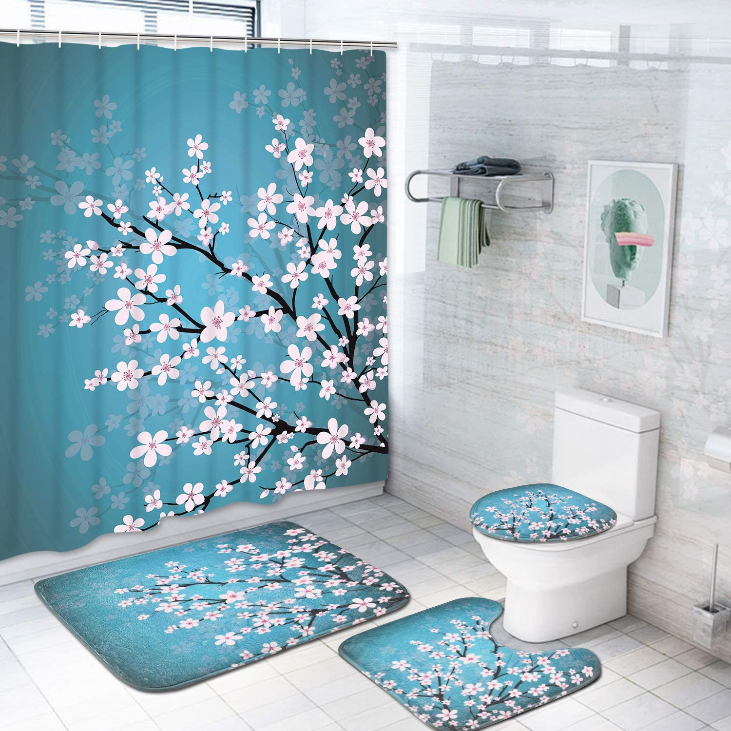 Pknoclan 4 Pcs Japanese Cherry Blossom Shower Curtain Sets with Non-Slip Rugs, Toilet Lid Cover and Bath Mat, Spring Sakura Flower Shower Curtain with 12 Hooks, Blue Waterproof Durable Bath Curtain