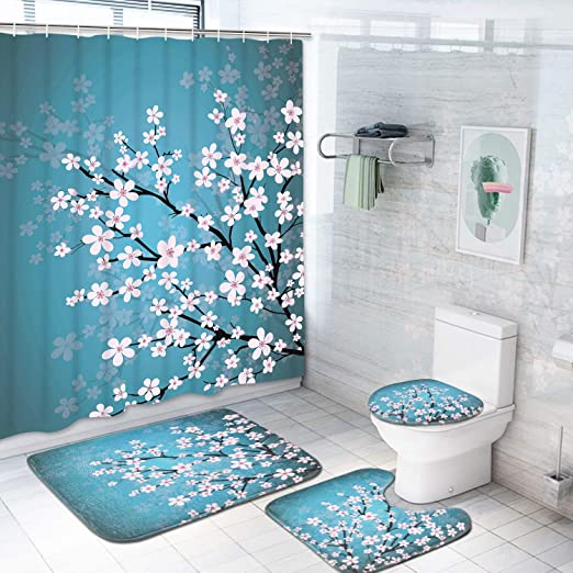 Butterfly and Sunflower Shower Curtain Toilet Cover Rug Bath Mat Contour Rug Set