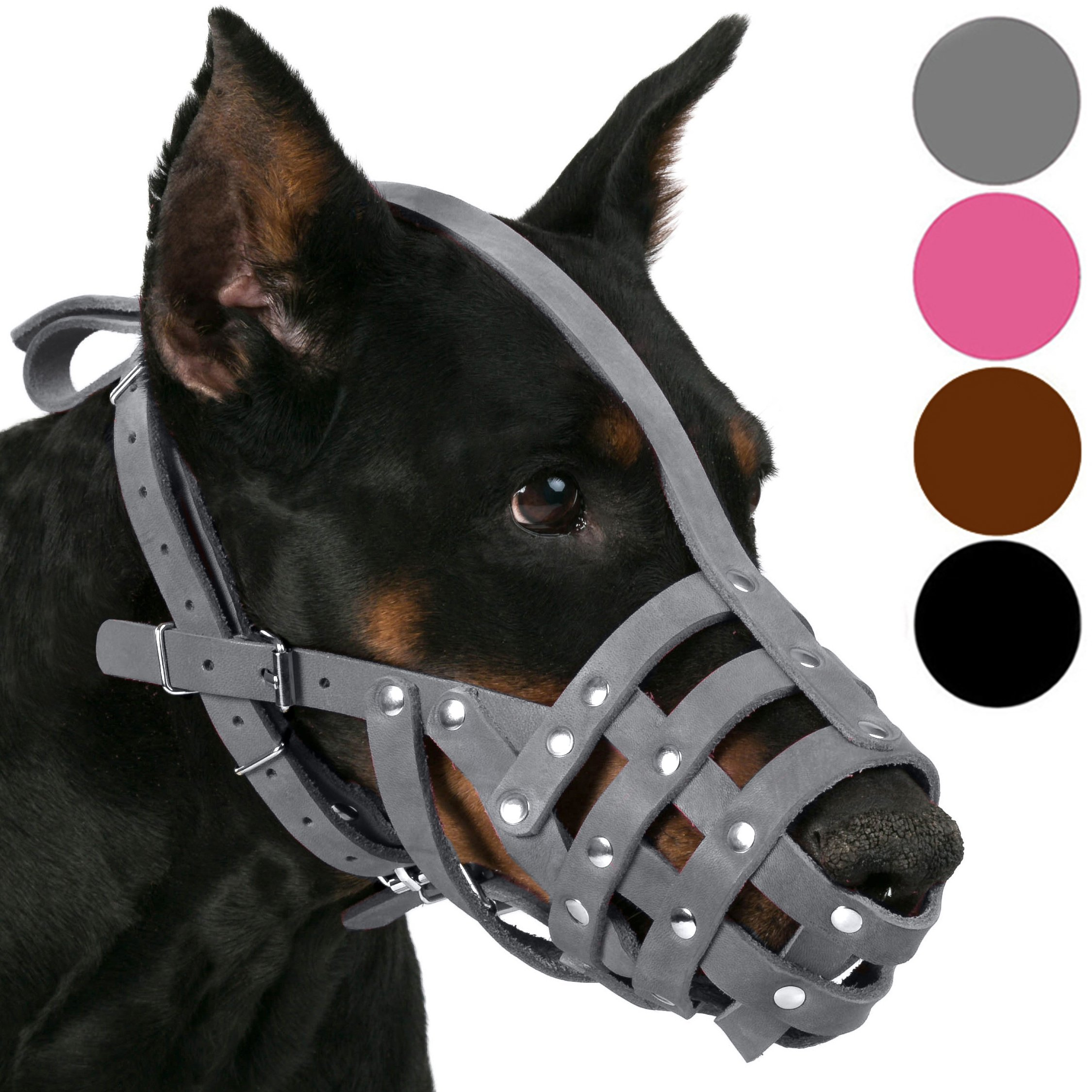 CollarDirect Leather Dog Muzzle Doberman German Shepherd Dalmatian Setter Basket Medium Large Breeds Pink Gray (L, Black)