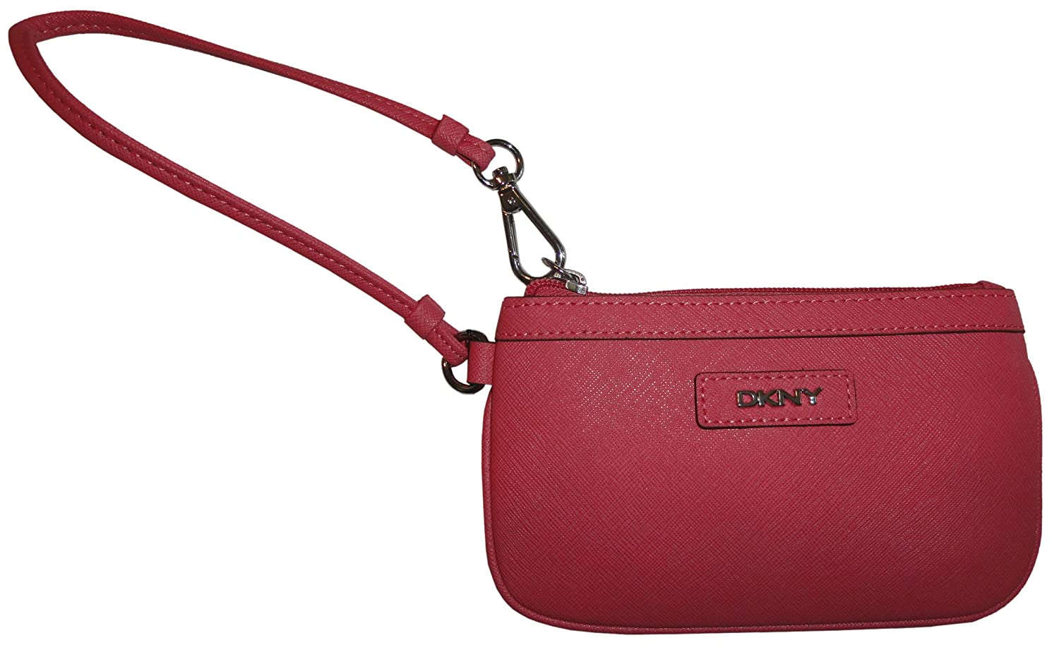 DKNY Women's Saffiano Leather Wristlet with Logo Plaque Coral
