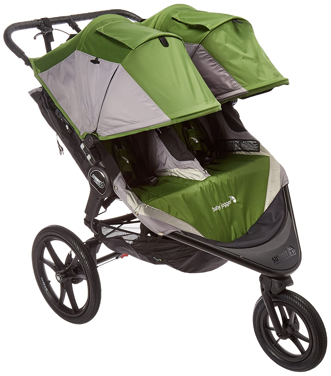 Baby Jogger Summit X3 Double Jogging Stroller 2016 Air Filled Rubber Tires All Wheel Suspension