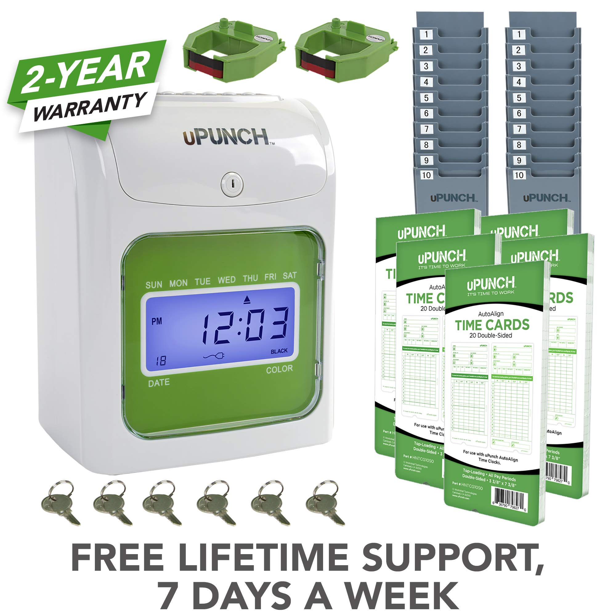 uPunch Time Clock Bundle with 100 Cards, 2 Ribbons, 2 Time Card Racks, & 6 Keys (HN3500) by uPunch