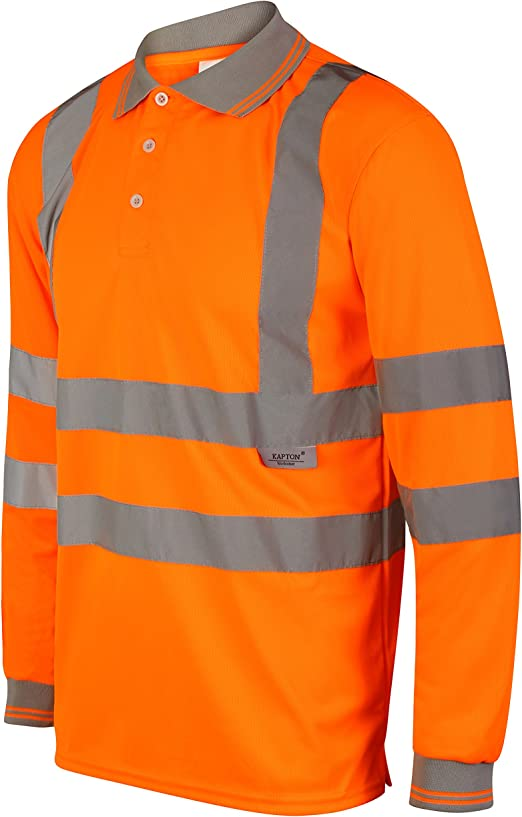 HuntaDeal Hi Viz VIS High Visibility Long Sleeve Polo Shirt Reflective Tape Safety Security Work Button Breathable Lightweight Double Tape Workwear Top Plus Big Size EN ISO 20471