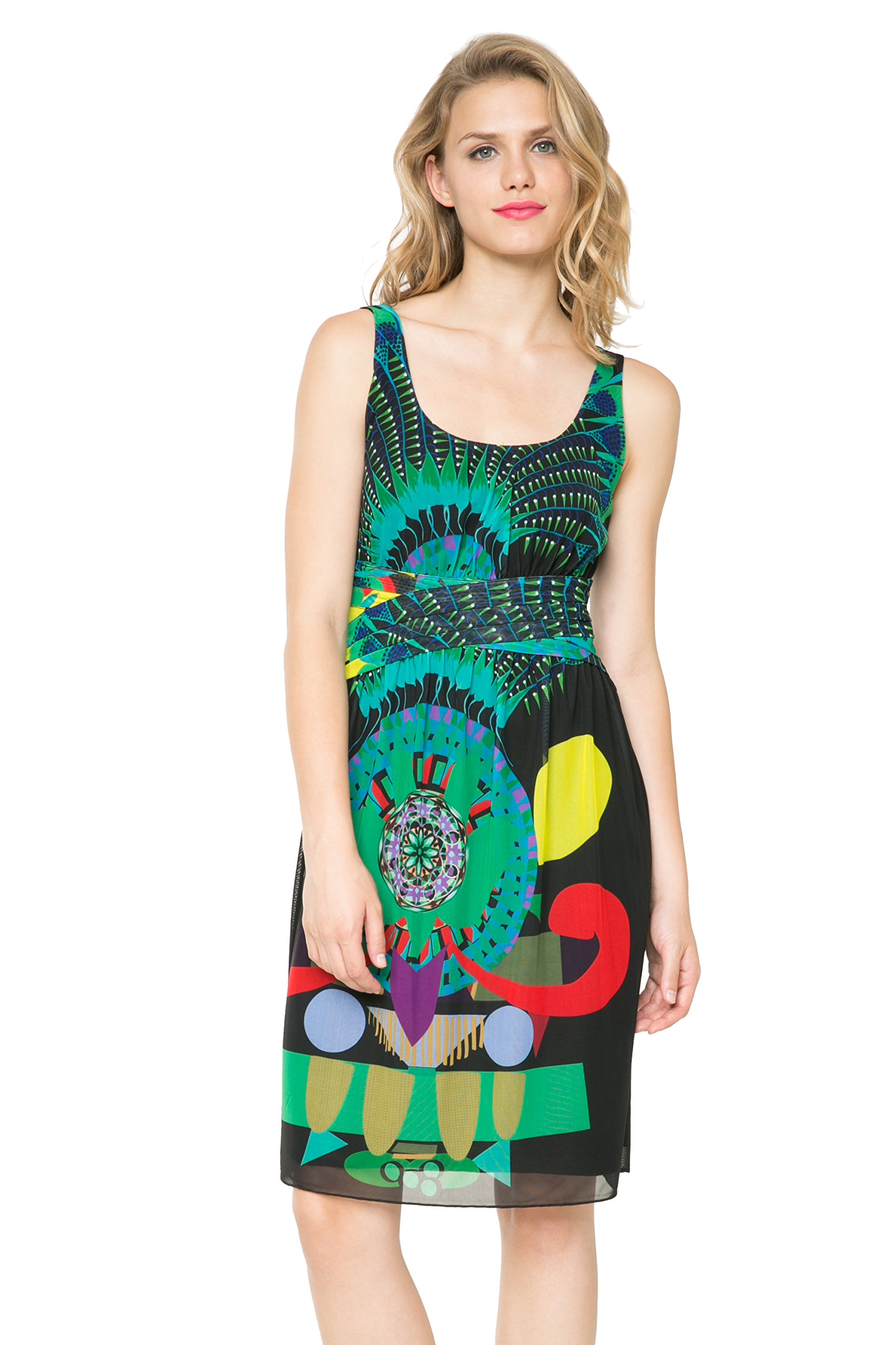 Desigual by L Women's Black Celia Multicolour Hourglass Dress S UK 10