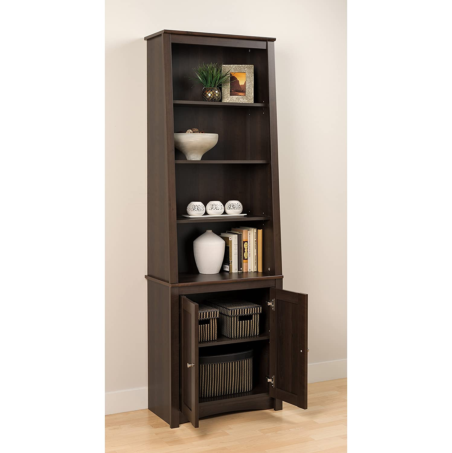 espresso tall slant back bookcase with 2 shaker doors