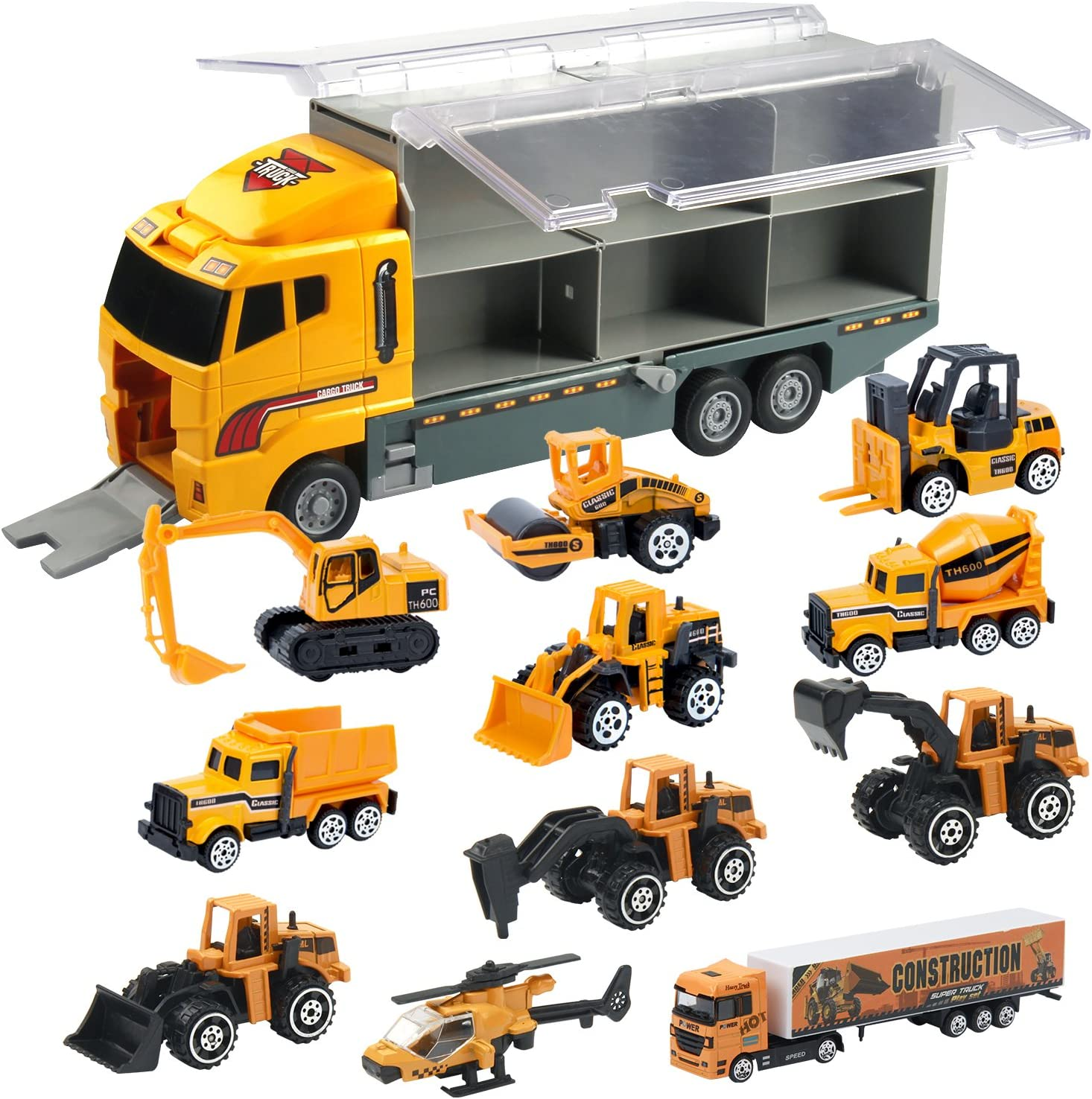Amazon Com Oumoda 11 In 1 Transport Car Die Cast Construction