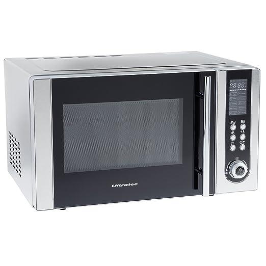 Ultratec MWG500 - Microondas con grill y aire caliente, 800/1200 W, temporizador de 95 min con señal acústica, incluye rejilla