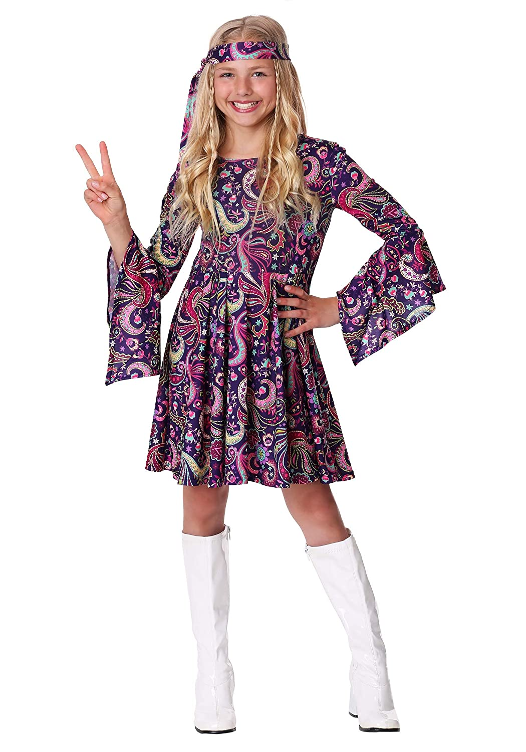 Hippie Dress | Long, Boho, Vintage, 70s Girls Woodstock Hippie Costume $19.99 AT vintagedancer.com