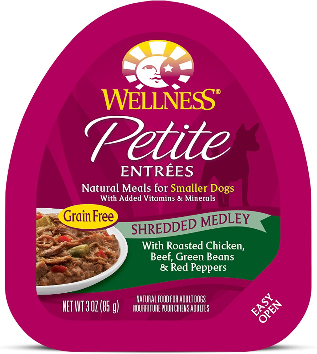 Wellness Petite Entrees Natural Grain Free Wet Small Breed Dog Food, 3-Ounce Cup Pack Of 24 Shredded Medley Chicken Beef