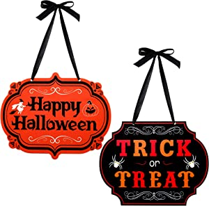 Patelai 2 Pieces Trick or Treat Happy Halloween Hanging Sign October Witches Halloween Welcome Signs for Halloween Party Indoor Outdoor House Decorations