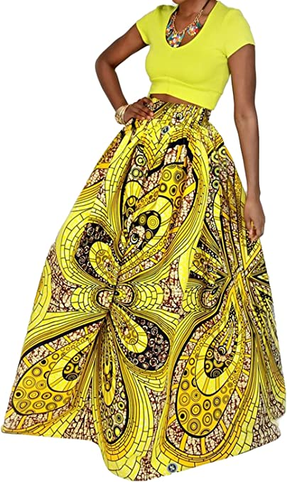 Women African Floral Print Pleated High Waist Maxi Skirt