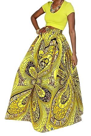 aae8003fcf Novia s Choice Women African Floral Print Pleated High Waist Maxi Skirt  Casual A Line Skirt(