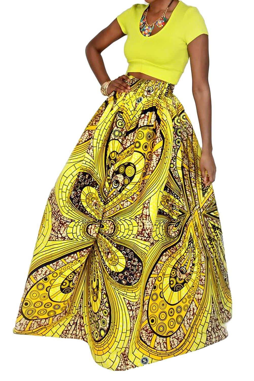 Novia's Choice Women African Floral Print Pleated High Waist Maxi Skirt Casual A Line Skirt(Yellow Geometric 3)