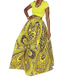 Novias Boutique Women African Floral Print Pleated High Waist Maxi Skirt Casual A Line Skirt(Yellow Geometric)