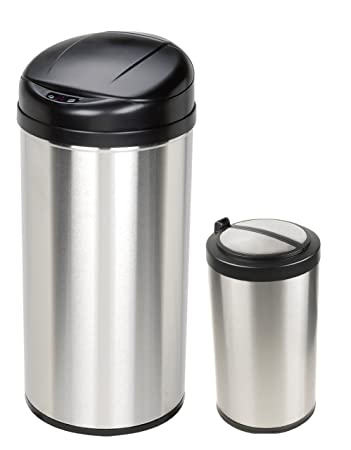 High Quality Motion Sensor Trash Can Combo Pack (Stainless Steel) (24u0026quot;H X 16.2u0026quot