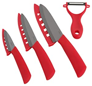 Oster 107312.04 Ostead 4 Piece Ceramic Blade with Sheath Cutlery Set, Metallic Red/Black