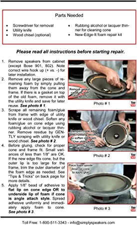 Simply Speakers Subwoofer Foam Speaker Repair Kit Compatible with JBL 12 Inch PSW1200 FSK-12Ji-1 HT1S Single